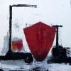 Dockad röd båt